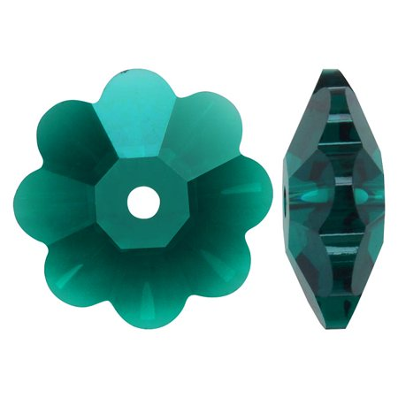 Swarovski Crystal, #3700 Flower Margarita Beads 10mm, 6 Pieces, Emerald