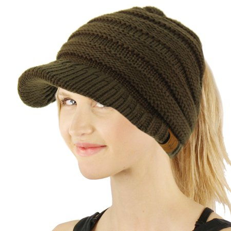CC Ponytail Visor Brim Messy Bun BeanieTail Stretchy Knit Beanie Sun Hat