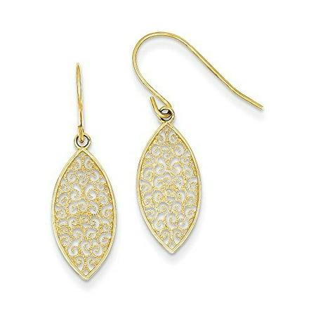 14K Yellow Gold Filigree Teardrop Dangle Shephered Hook Earrings