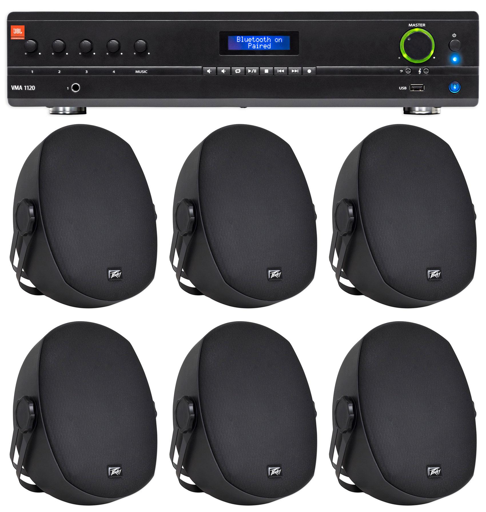 JBL VMA1120 Commercial Restaurant 120W 70v Bluetooth Mixer Amplifier+6) Speakers by JBL