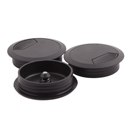 60mm Dia PC Computer Desk Round Grommet Tidy Cable Wire Hole Cover Black 3 PCS