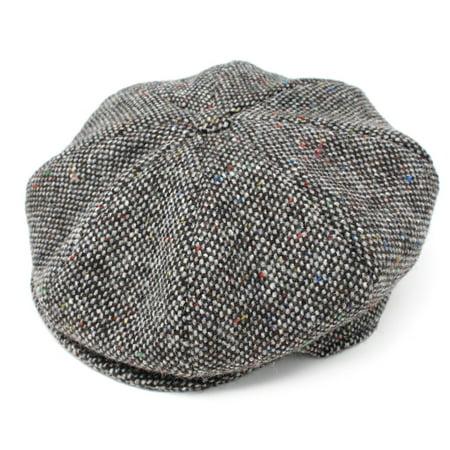 Hanna Hats Eight Piece Irish Flat Cap Tweed - Grey Salt and Pepper, Large Classic Tweed Hat