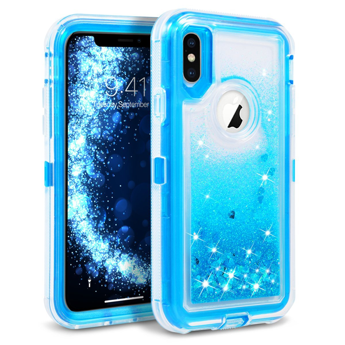 Apple IPhone X; 10 Tough Defender Sparkling Liquid Glitter Heart Case With Transparent Holster Clip Blue