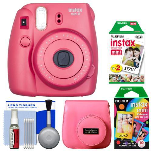 Fujifilm Instax Mini 8 Instant Film Camera (Raspberry) with 20 Twin & 10 Rainbow Prints + Case + Kit