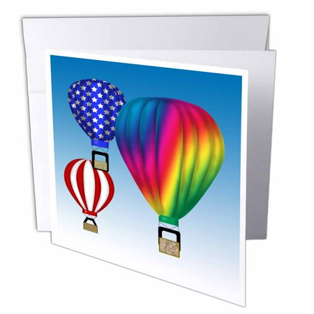 3dRose Graphic Design Hot Air Balloons with Blue sky backround Ballooner, Greeting Cards, 6 x 6 inches, set of 12 (Balloons With Designs)