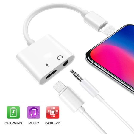 Headphone Adapter for iPhone Adapter 3.5mm Jack Charging Audio 2 in 1 Jack Audio to 3.5mm Dongle Aux Splitter Converter Adaptor Cable Compatible with iPhone Xs Max XR X 8 7 Plus for iOS 10.3 or Later (Iphone 5 Converter Adapter)