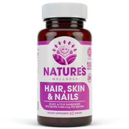 Hair, Skin & Nails Supplement - 5000mcg Biotin, Silica, Vitamin C, E, B, Natural Essential Vitamins, and Advanced Nutrient Complex for Thinning Hair, Men and Women | 60