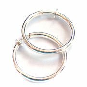2.25 inch Hoop Earrings Shiny Silver Tone Clip Earrings Hypoallergenic