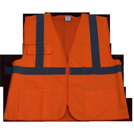 Petra Roc OV2-FSMB-L-XL Safety Vest Ansi Class 2 Front Solid Mesh Back, Orange - Large & Exrtra Large - image 1 of 1