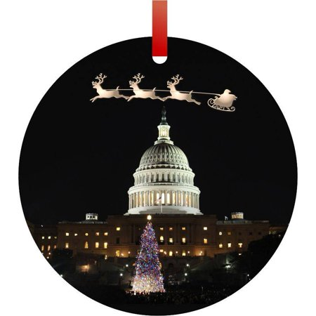 Santa and Sleigh Over U.S. Capitol on Christmas Eve Flat Round - Shaped Christmas Holiday Hanging Tree Ornament Disc Made in the - Halloween's Over Bring On Christmas