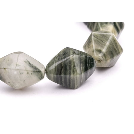Faceted Double Cone Green Line Agate Beads Semi Precious Gemstones Size  18X13mm Crystal Energy Stone Healing Power For Jewelry Making