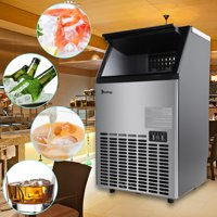 Zimtown Built-In Stainless Steel Commercial Ice Maker, Under counter/Freestanding/Portable Automatic Ice Machine for Restaurant Bar Cafe, 100lbs/24h Production, 33lbs Storage, 5 Accessories