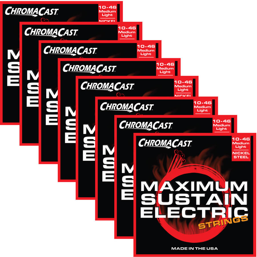 ChromaCast Maximum Sustain Medium-Light Electric Guitar Strings, (.010-.046), 8-Pack by ChromaCast
