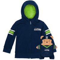 Seattle Seahawks Cubcoats Toddler 2-in-1 Transforming Full-Zip Hoodie & Soft Plushie - Navy