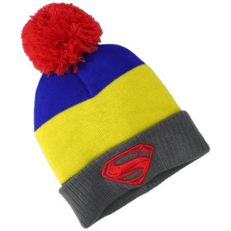 DC Comics Men's Superman-Man Of Steel Pom Pom Knit Hat, Yellow, One Size