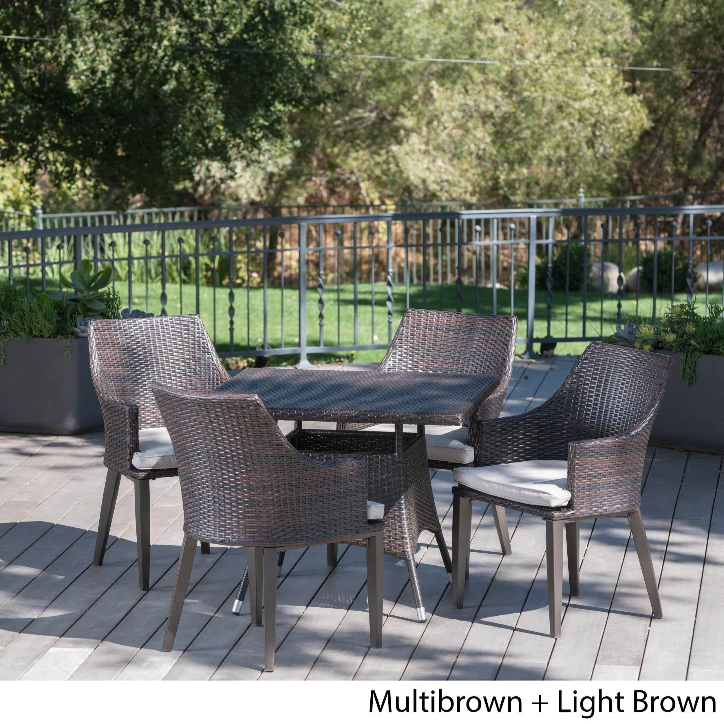 Christopher Knight Home Hillhurst Outdoor 5-piece Square Wicker Dining Set with Cushions by