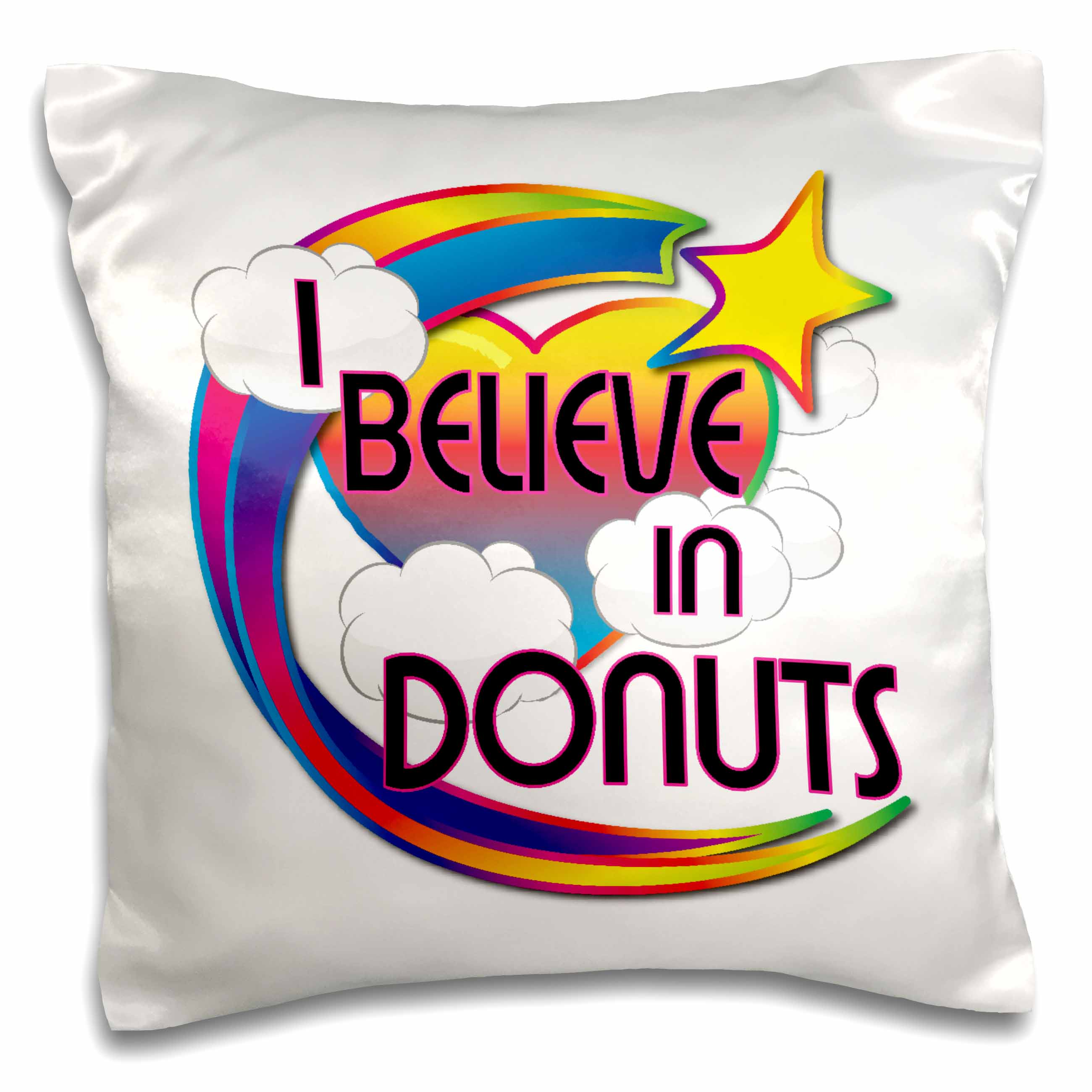 3dRose I Believe In Donuts Cute Believer Design, Pillow Case, 16 by 16-inch