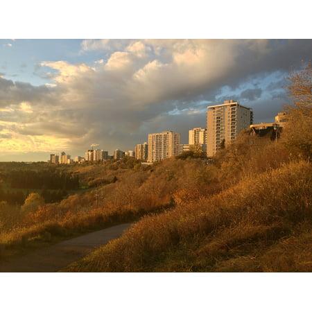Canvas Print River Skyline Edmonton Sunset Clouds Valley Stretched Canvas 10 x (Best River Valley Walks Edmonton)