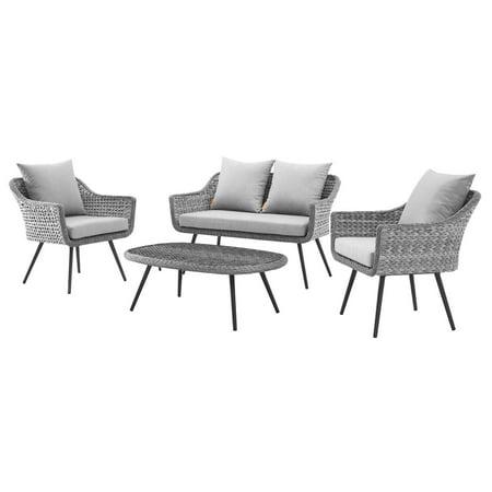 Contemporary Modern Urban Designer Outdoor Patio Balcony Garden Furniture Lounge Sofa, Chair and Coffee Table Set, Aluminum Fabric Wicker Rattan, Grey Gray