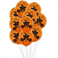 Fancyleo 10PCs 12'' Party Decoration Balloons - Natural Latex Balloons, Skeleton Pumpkin Spider Web and Bloody Hand Printed Balloons for Trick Or Treat Scary Party Fun