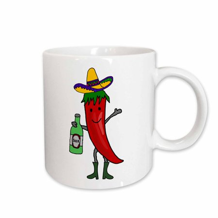 - 3dRose Funny Cute Red Jalapeno Pepper Drinking Beer Cartoon - Ceramic Mug, 15-ounce