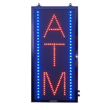 - Red & Blue LED ATM Sign - 11 inch x24 inch vertical rectangle