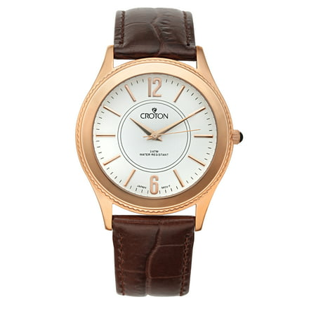 (Croton Men's Stainless Rosetone Dress Watch w/White Dial & Brown Leather Strap)