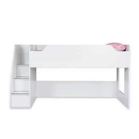 "South Shore Mobby Twin Loft Bed (39"") with Stairs, White"