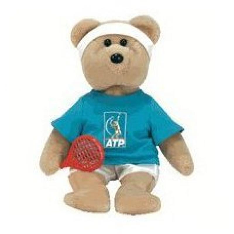 TY Beanie Babies Feder-bear Tennis Bear by