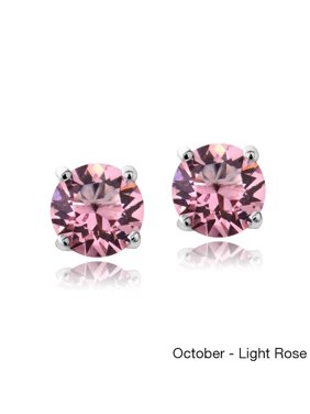 aee97848f Product Image Crystal Ice Sterling Silver Birthstone 6mm Stud Earrings Made  with Swarovski Crystal October Light Rose