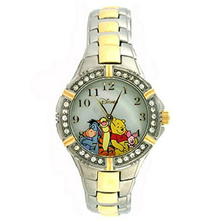 Crystal Accented Heart Watch (Winnie the Pooh and Friends Two-Tone Bracelet Watch with Crystal Accents WTP063 )