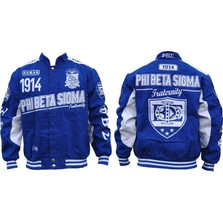 Big Boy Phi Beta Sigma Divine 9 S9 Mens Twill Racing Jacket [Royal Blue - 2XL]