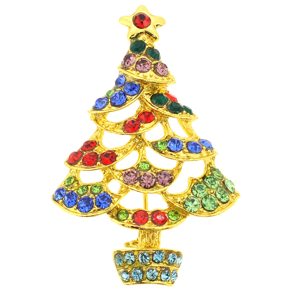 Multicolor Christmas Tree Crystal Pin Brooch by