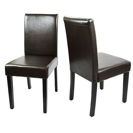 XtremepowerUS Set of (2) Parson Dining Chair PU Leather Padded Cushion Backrest w/ Wood Leg, Brown