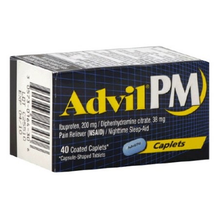 Advil PM Pain Reliever/Nighttime Sleep Aid (Ibuprofen and Diphenhydramine) (40 ct Box)