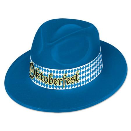 Club Pack of 25 Blue Oktoberfest Velour Fedora Hat Costume - Christmas Fedora