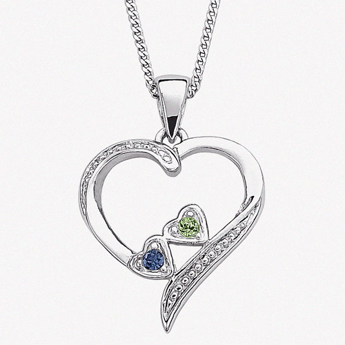Personalized Birthstone Sterling Silver Sister's Heart Pendant