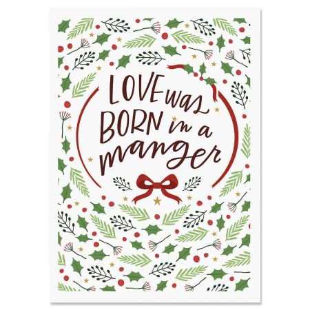 Love Was Born Religious Christmas Cards- Set of 18 Holiday Greeting Cards