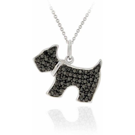 Black Diamond Accent Silver-Tone Dog Necklace