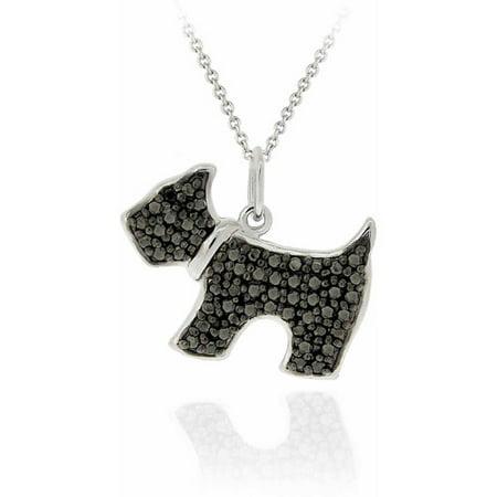 Birthstone Dog (Black Diamond Accent Silver-Tone Dog Necklace )