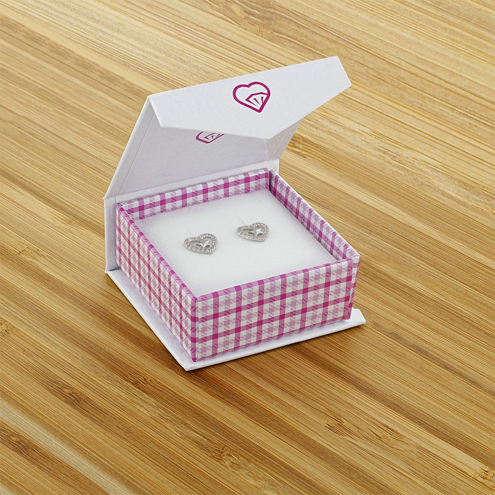 925 Sterling Silver Pink CZ Open Heart Star Stud Earrings for Girls or Teens - image 4 of 5