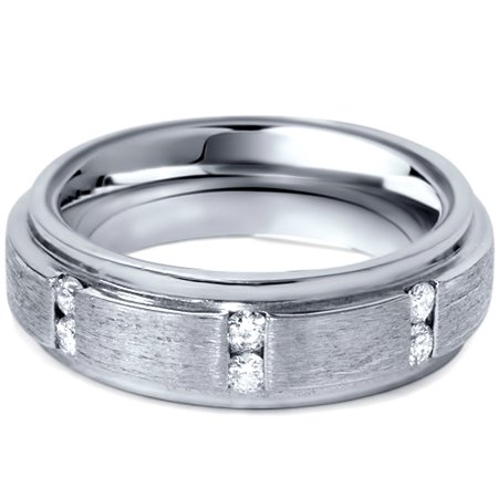 Mens Brushed Wedding Diamond 14K White Gold Ring