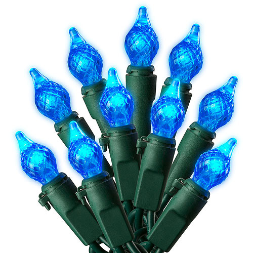 Holiday Time 60-Count LED C4 Teardrop Christmas Lights, Blue ...