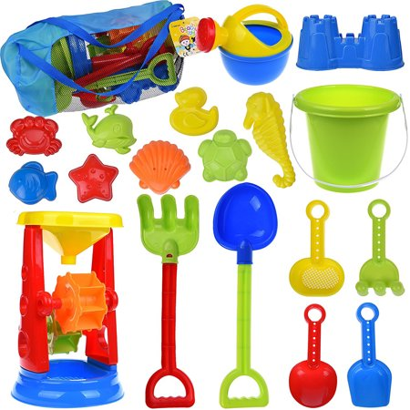 Kids Beach Sand Toys Set for Gift with Sand Molds,Mesh Bag, Sand Wheel,Tool Play Set, Watering Can, Shovels, Rakes, Bucket ,Sea Creatures, Castle Molds 18 PCs F-129