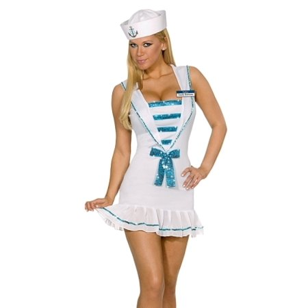 Sexy Halloween Costumes Sequined Navy Pin-Up Captain Sailor Girl Dress Costume Theme Party Outfit (Halloween Theme Orchestral)