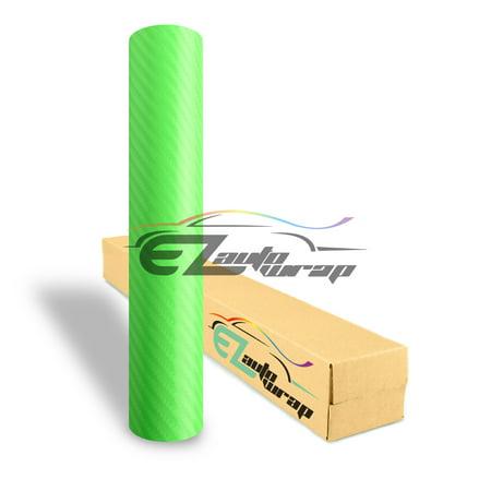 EZAUTOWRAP 4D Semi Gloss Green Carbon Fiber Car Vinyl Wrap Sticker Decal Film Sheet Decoration With Air Release Techology