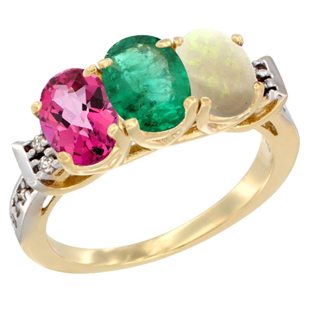 10K Yellow Gold Natural Pink Topaz, Emerald & Opal Ring 3-Stone Oval 7x5 mm Diamond Accent, sizes 5 10 by WorldJewels