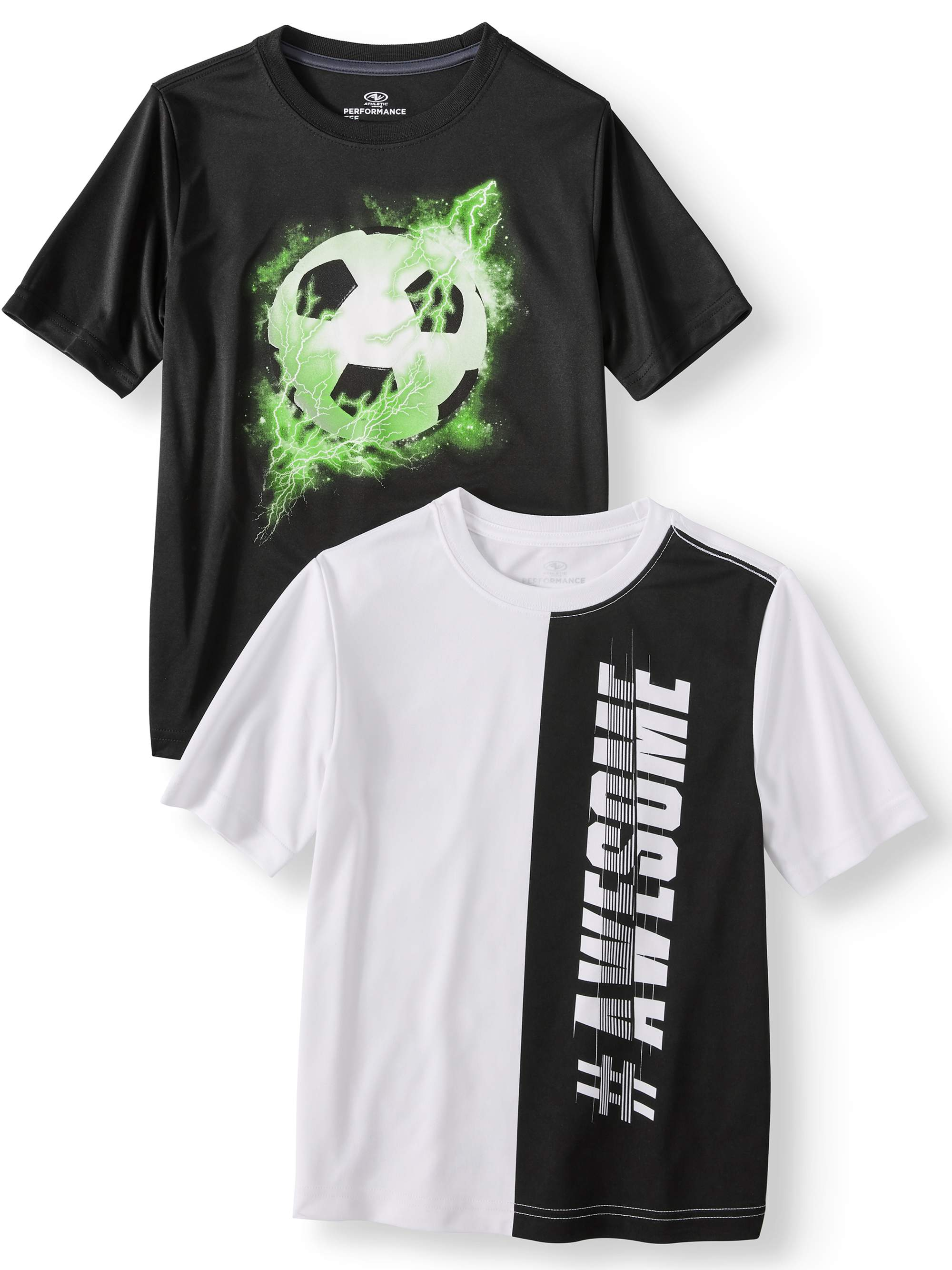 Short Sleeve Graphic Performance Tee, 2-Pack Set Value Bundle (Little Boys & Big Boys)