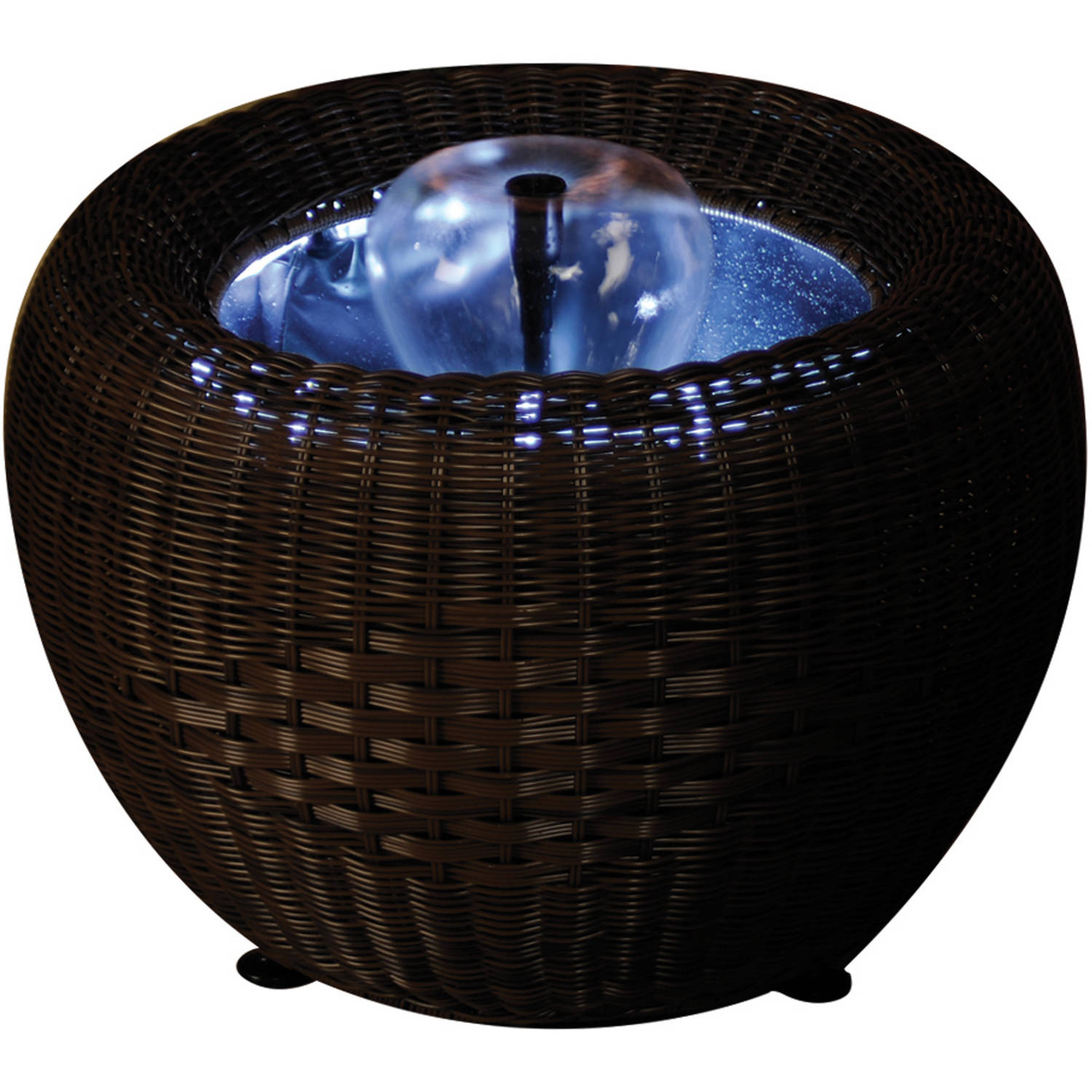 Gardenique Patio Pond, Mocha Wicker Urn with White LED Light by Pond Equipment