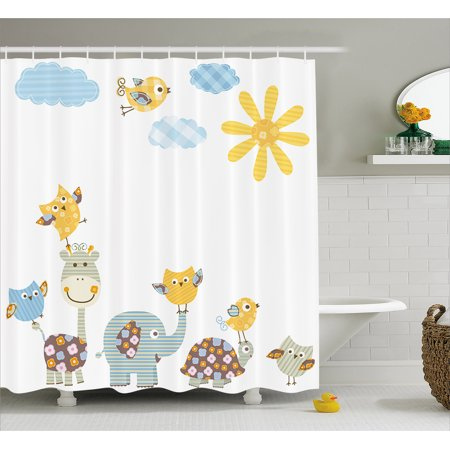 Nursery Shower Curtain, Jolly Jungle Creatures Happily Walking in a Sunny Day Cute Animals, Fabric Bathroom Set with Hooks, 69W X 70L Inches, Yellow Pale Blue Pale Green, by - Jungle Jollies